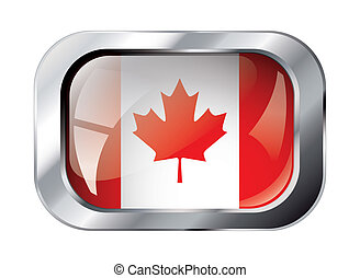 canada shiny button flag vector illustration. Isolated abstract object against white background.