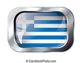 greece shiny button flag vector illustration. Isolated abstract object against white background.