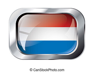 holland shiny button flag vector illustration. Isolated abstract object against white background.
