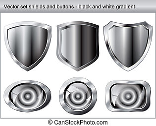 Vector illustration set. Shiny and glossy shield and button with black and white colors. Abstract objects isolated on white background.