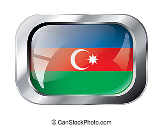 azerbaijan shiny button flag vector illustration. Isolated abstract object against white background.