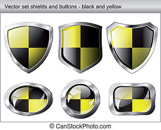 Vector illustration set. Shiny and glossy shield and button with black and yellow colors. Abstract objects isolated on white background.