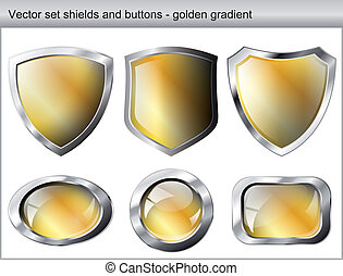 Vector illustration set. Shiny and glossy shield and button with golden colors. Abstract objects isolated on white background.