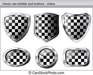 Vector illustration chess set. Shiny and glossy shield and button with black and white colors. Abstract objects isolated on white background.