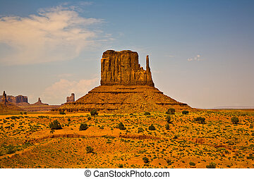 famous scenic Butte in Monument Valley - WEst Mittens Butte...