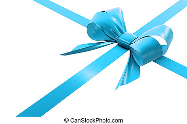 cyan bow and ribbon on a white background, isolated image