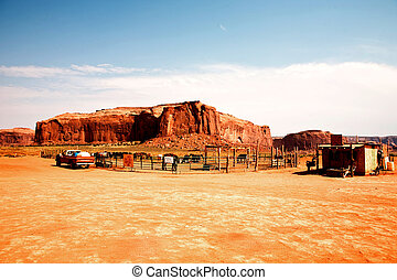 famous scenic Butte in Monument Valley - farm in monument...