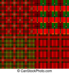 Set plaid patterns, tartan