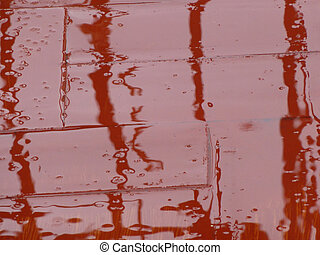 rain on roof tiles - reflection in puddles of rain falling...