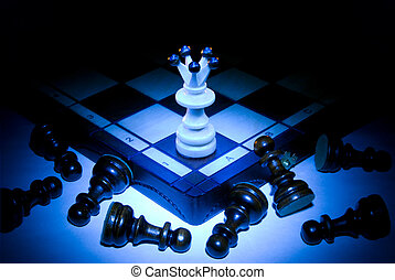 Force and authority - Chess board, queen and pawns. A dark...