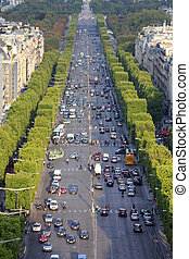 Paris traffic - Paris, France - aerial city view with Champs...
