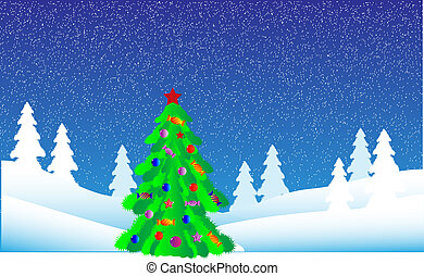 Christmas tree in fir tree forest