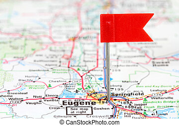 Eugene, Oregon Red flag pin in an old map showing travel...