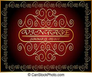 horizontal vintage label with spiral gold(en) pattern -...