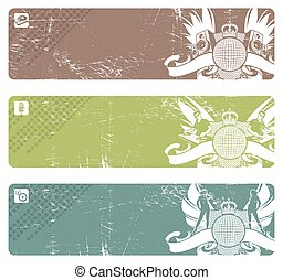 Three horizontal vector disco banners with emblem