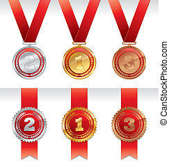 Three vector medals with ribbons - gold, silver and bronze