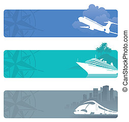 Travel vector banners with contemporary transport