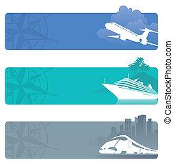 voyage, vecteur, bannières, contemporain, transport