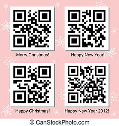Christmas and New Year QR Code vector set - Christmas and...