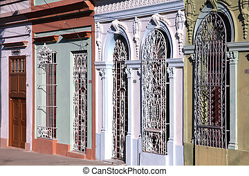 Cuba - colonial architecture - Street view in Cienfuegos,...