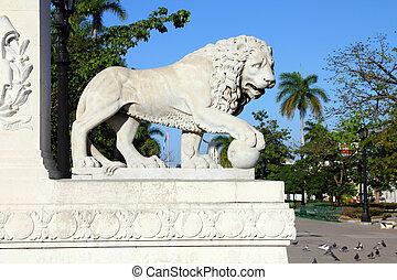 Cuba - Cienfuegos - Lion sculpture in Cienfuegos, Cuba. The...