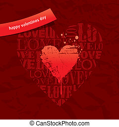 Valentines vector card with grunge hearts on vintage paper