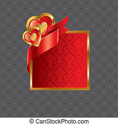 Vector Valentines illustration with golden luxury ornate frame with hearts and ribbon