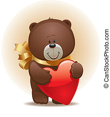 Valentines vector illustration with small cute bear with bow & heart