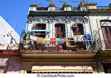 Havana, Cuba - city architecture. Old residential buildings.