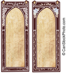 Two art nouveau frames with space for text or illustrations
