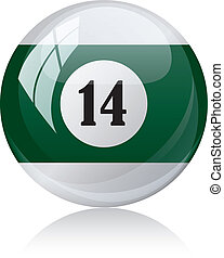 Vector illustration of a isolated glossy - fourteen, half-green - pool ball against white background.