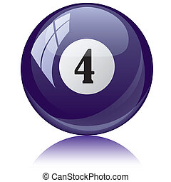 Vector illustration of a isolated glossy - four, viole - pool ball against white background.