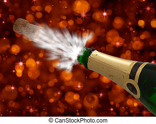 Celebration with champagne on party - happy new year - cool black background