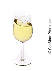 Merry Christmas and happy New year. Champagne flutes making a toast, isolated on white background.