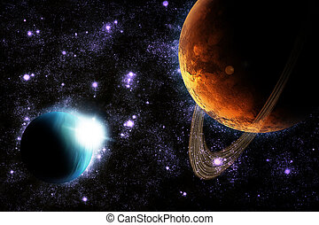Abstract planet with sun flare in deep space - star nebula...