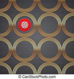 Vector abstract seamless background with golden luxury round elements on a dark metal texture
