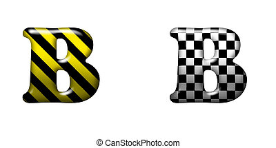 Exclusive collection letters with danger stripes and chess...