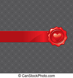 Vector abstract Valentines illustration with heart sealing wax stamp