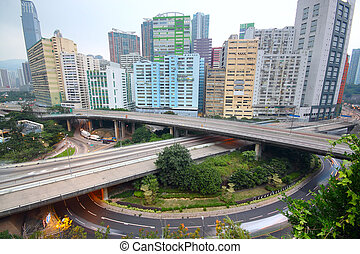 downtown area and overpass in hong kong