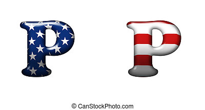 Exclusive collection letters with american stars and stripes...