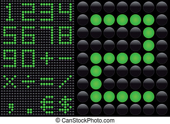 Vector LED - light emitting diode - info panel. Score board style numbers.