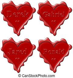 Valentine love hearts with names: Derek, Gabriel, Jared,...