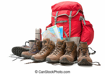 hiking equipment Concept for family hiking