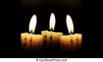 Candles in the night, close up, loop