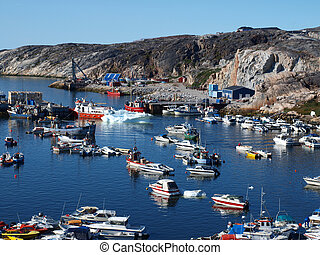 Ilulissat harbour, Greenland. - Ilulissat harbour blocked by...