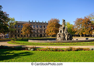 Erlangen, Germany in Autumn - Schloss garten in autumn in...