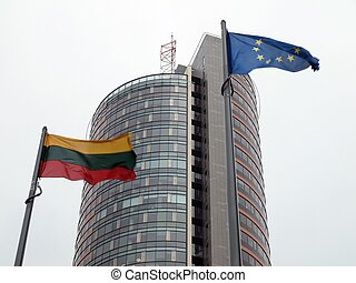 Lithuanian and European Union flag - Lithuania is member of...