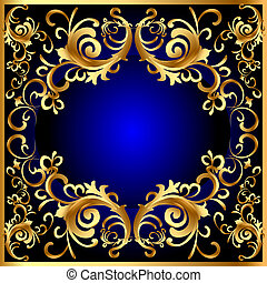 vintage blue frame with vegetable golden pattern -...