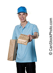 young man of package courier service brings