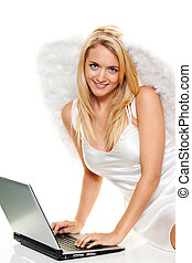 angels for christmas with laptop